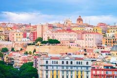 Stadtbild der alten Mitte von Cagliari lizenzfreies stockfoto