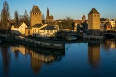 Stadtbild der alten mittelalterlichen Stadt von Straßburg stockfotos