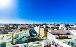 Stadtbild der historischen Stadt von Essaouira in Marokko stockbilder