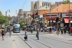 Stadtbild der Jaffa-Straße in Jerusalem Stockbilder
