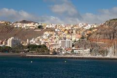 Stadtbild in der Küste von Los Cristianos stockfotos