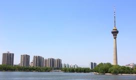 Stadtbild des CCTV-Kontrollturms, Peking Lizenzfreie Stockfotografie