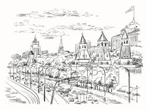 Stadtbild des Dammes der Kreml-Türme und Moskau-Fluss Roten Platzes, Moskau, Russland lokalisierte Vektorhandzeichnungsillustrati lizenzfreie stockbilder