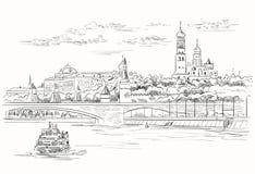 Stadtbild des Dammes von Kreml-Türmen und -brücke über Moskau-Fluss Rotem Platz, Moskau, Russland lokalisierte Vektorhandzeichnun stockfotografie