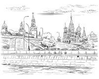 Stadtbild des Dammes von Kreml-Türmen und -brücke über Moskau-Fluss Rotem Platz, Moskau, Russland lokalisierte Vektorhandzeichnun stockfotos