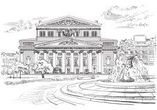 Stadtbild des internationalen Marksteins von Moskau, Russland Großes Theater lokalisierte Vektorhandzeichnungsillustration in der stockbilder
