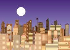 Stadtbild einer modernen Stadt nachts lizenzfreie abbildung