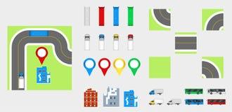 Stadtbild-Gestaltungselemente mit Straße, Transport, Gebäude, Navigationsstifte Straßenkarte-Vektorillustration ENV 10 Kann für v Stockbild