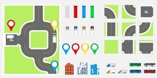 Stadtbild-Gestaltungselemente mit Straße, Transport, Gebäude, Navigationsstifte Straßenkarte-Vektorillustration ENV 10 Kann für v Lizenzfreies Stockfoto