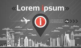 Stadtbild-Hintergrund-Navigations-Skyline Gps Pin Map Over City View mit Kopien-Raum Infographic Lizenzfreies Stockfoto