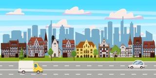 Stadtbild, horizontale Ansicht des Panoramas, Altbauarchitektur, moderne Gebäudeschattenbilder der Wolkenkratzer in stock abbildung