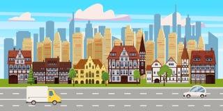 Stadtbild, horizontale Ansicht des Panoramas, Altbauarchitektur, moderne Geb?udeschattenbilder der Wolkenkratzer in vektor abbildung