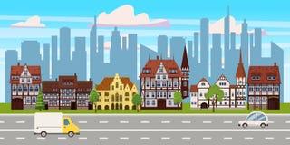 Stadtbild, horizontale Ansicht des Panoramas, Altbauarchitektur, moderne Geb?udeschattenbilder der Wolkenkratzer in stock abbildung