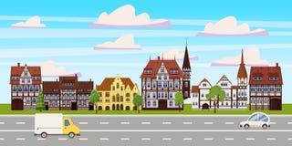 Stadtbild, horizontale Ansicht des Panoramas, Altbauten Architektur, Stra?enlandstra?enautos Vektor, Illustration, Karikatur vektor abbildung