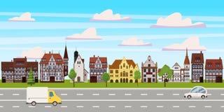 Stadtbild, horizontale Ansicht des Panoramas, Altbauten Architektur, Stra?enlandstra?enautos Vektor, Illustration, Karikatur stock abbildung