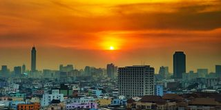 Stadtbild im Stadtzentrum von Bangkok von der hohen Ansicht stockfoto