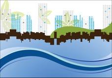 Stadtbild mit Blättern und Wellen