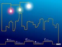 Stadtbild mit Glühlampe des kreativen Drahtes Stockfoto