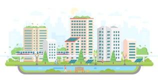 Stadtbild mit Sonnenkollektoren - moderne flache Designart-Vektorillustration Stockfotos