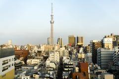 Stadtbild mit Tokyo Skytree, von oben, in Asakusa, Tokyo, Japan angesehen stockbilder