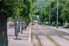 Stadtbild mit Tram lizenzfreie stockfotos