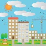 Stadtbild mit Turmkranen. Lizenzfreie Stockfotos
