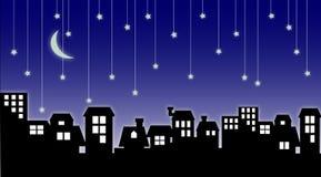 Stadtbild u. fallende Sterne Lizenzfreies Stockbild