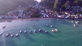 Stadtbild und Landschaft EL Nido Schöne Stadt in Palawan, Philippinen stock video