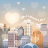 Stadtbild am Valentinsgruß-Tag Stockfotos