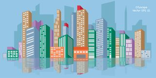 Stadtbild, Vektor-Illustration ENV 10 Lizenzfreie Stockfotos