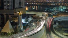 Stadtbild von Adschman von der Dachspitze am Nacht-timelapse Adschman ist das Kapital des Emirats von Adschman in Vereinigte Arab lizenzfreies stockbild