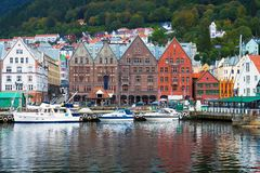 Stadtbild von Bergen, Norwegen Stockfotos