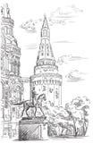 Stadtbild von der Kreml-Turm, von Zustands-historischem Museum und von Monument, zum von Zhukov Red Square, Moskau, Russland zu o stockfotos