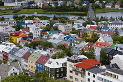 Stadtbild von im Stadtzentrum gelegenem Reykjavik, Island. stockbilder