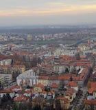 Stadtbild von Maribor, Ansicht von Piramida-Hügel Stockbilder