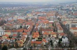 Stadtbild von Maribor, Ansicht von Piramida-Hügel Stockfotografie