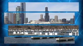 Stadtbildarchitektur Chicagos Illinois mit im Stadtzentrum gelegenen Wolkenkratzern Lizenzfreie Stockbilder
