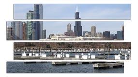 Stadtbildarchitektur Chicagos Illinois mit im Stadtzentrum gelegenen Wolkenkratzern Lizenzfreie Stockfotos