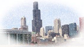 Stadtbildarchitektur Chicagos Illinois mit im Stadtzentrum gelegenen Wolkenkratzern Lizenzfreies Stockfoto