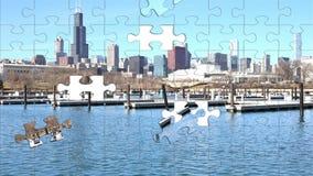 Stadtbildarchitektur Chicagos Illinois mit im Stadtzentrum gelegenen Wolkenkratzern Stockfoto