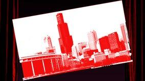 Stadtbildarchitektur Chicagos Illinois mit im Stadtzentrum gelegenen Wolkenkratzern Stockfotografie