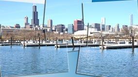 Stadtbildarchitektur Chicagos Illinois mit im Stadtzentrum gelegenen Wolkenkratzern Stockbilder