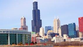 Stadtbildarchitektur Chicagos Illinois mit im Stadtzentrum gelegenen Wolkenkratzern Stockbild