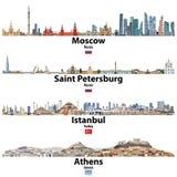 Stadtbilder von Moskau, von St Petersburg, von Istanbul und von Athen Flaggen von Russland, von Türkei und von Griechenland Vekto stock abbildung