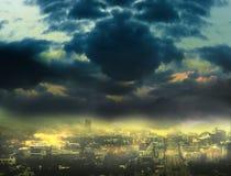 Stadtbildhintergrund, Nachtszene Stockbilder