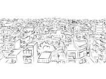 Stadtbildskizze, nahtloses Muster für Ihren Entwurf Stockfotografie
