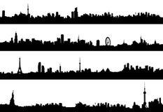 Stadtbildvektorpanorama-Architekturschattenbild Lizenzfreie Stockfotografie