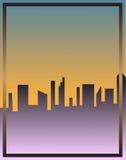 Stadtbildwolkenkratzerplakatvektor-Illustrationsrahmen Stockfotos