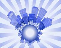 Stadtblau stock abbildung