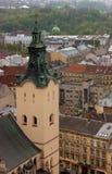 Stadtdachspitzenvogelperspektive Stockfoto